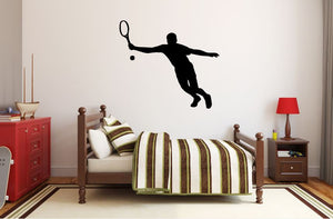 "Tennis Player Wall Decal - 27"" x 31"" Male Tennis Silhouette Vinyl Decal - Male Tennis Player 6"