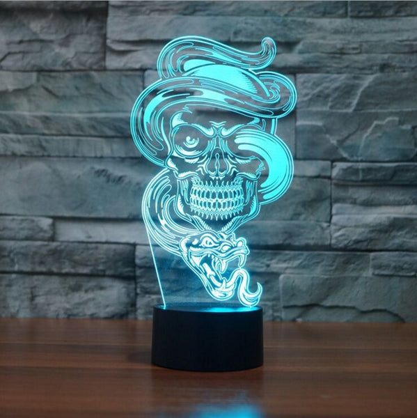 Skull & Snake - 3D Illusion Lamp