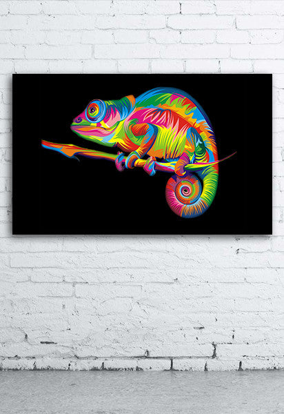 Rainbow Chameleon Art - Canvas Poster