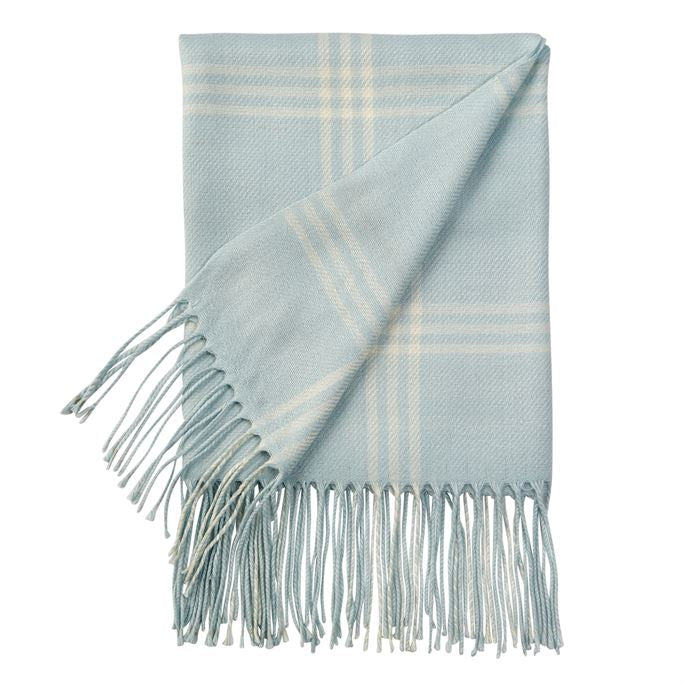 MUD PIE BLUE PLAID FRINGE BLANKET