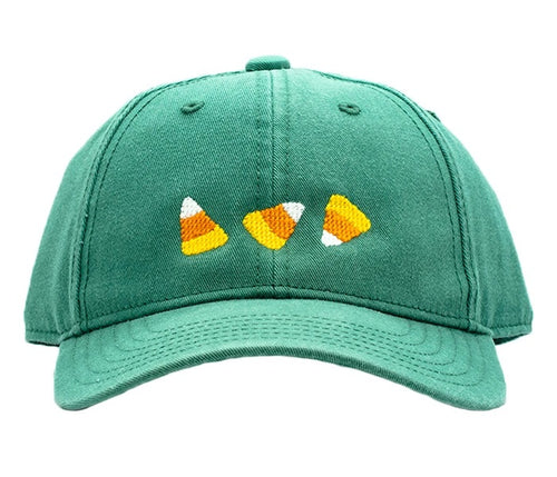 Candy Corn on Moss Green Baseball Hat