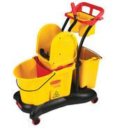 RUBBERMAID WAVE BRAKE 35 QUART DOWN PRESS BUCKET WRINGER TROLLEY
