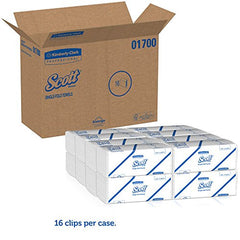 SINGLE FOLD SCOTT KC PROFESSIONAL HAND TOWEL WHITE 16 PACKS X 250 SHEETS 01700