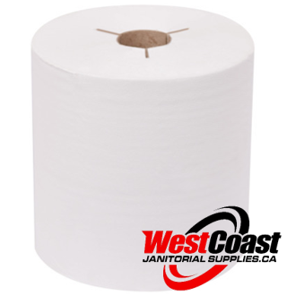 LARGE ROLL PAPER TOWEL HQ TORK 80 38 040 SLOTTED 800 FEET X 6 ROLLS WHITE  1 PLY 4800'/CASE