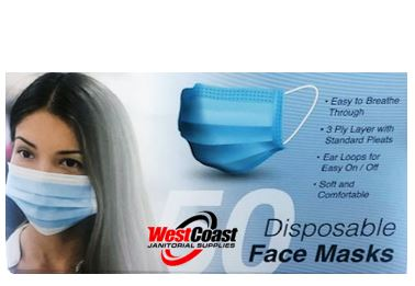 50 Pack Disposable Face Mask Safety for Personal Health, 3-Ply Ear Loop