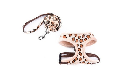 Adjustable Dog Harness with Leash in Leopard Pattern