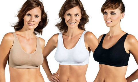 Sports Bras (3-Pack) with Removable Pads (Beige, White and Black) in Choice of Size
