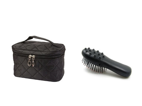 Massage Brush on Batteries and Cosmetic Bag in Black Colour