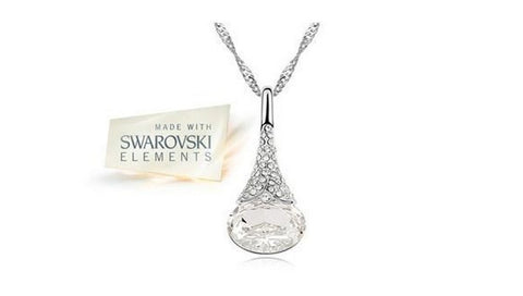 Water Drop Necklace with Crystal Pendant in Choice of Colour