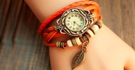 2 Boho Vintage Watches With a Leaf Pendant in Choice of Colour