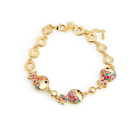 Gold-Plated or Silver-Plated Bracelet with Fish and Crystals