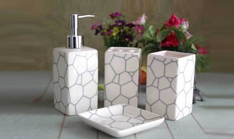 Ceramic Bathroom Set (4 Pieces)