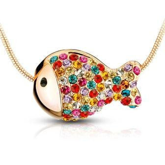 Gold-Plated Necklace with Fish Pendant and Crystal Elements