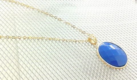 Gold Plated Necklace with Blue Pendant Medallion