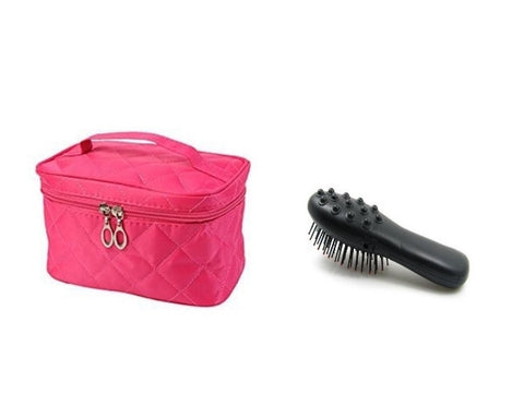 Massage Brush on Batteries and Cosmetic Bag in Pink Colour