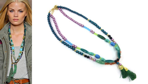 Double Beaded Necklace in Various Colours