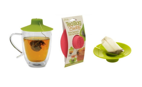 Tea Bag Buddy (2 Pieces) - Innovative Silicone Tea Cover in Colour of Choice (Video)