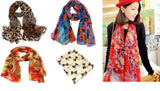 Set of 5 Trendy Scarfs with Different Motives