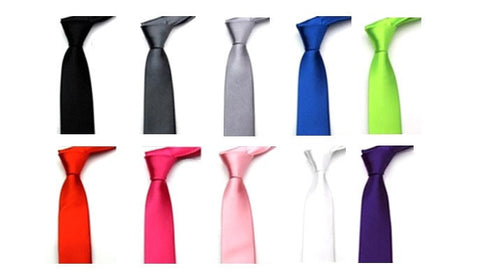 Set of 3 Male / Female Skinny Tie in Choice of Colour