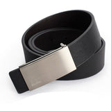 Men's Black Leather Belt with a Silver Buckle