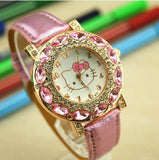 Hello Kitty Children's Watch with Zircons in White and Pink Colour