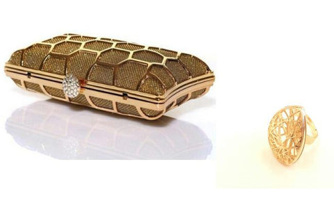 Golden Clutch Purse and Ring