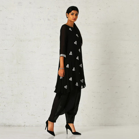 Black asymmetrical tunic with a dhoti salwaar