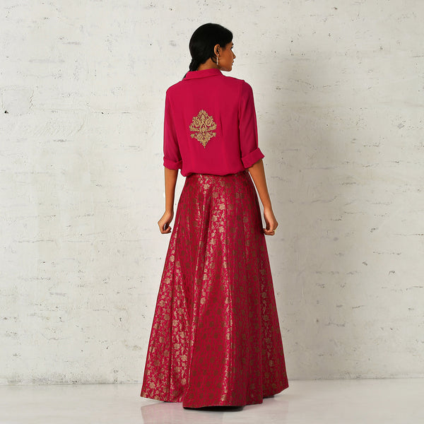 Pink brocade skirt and georgette shirt