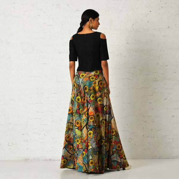 Floral skirt with a cold shoulder blouse