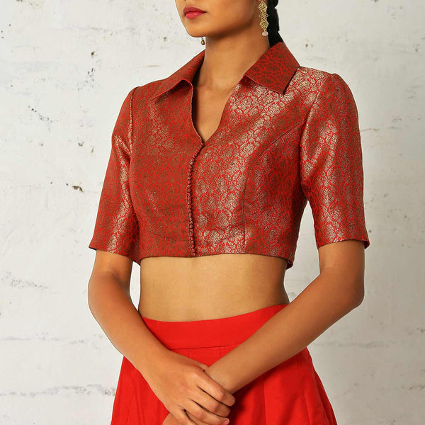 Brocade blouse with a paneled skirt