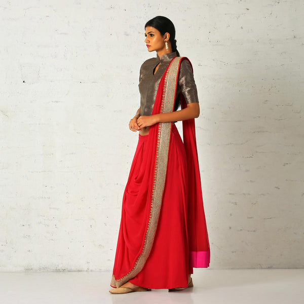 Sari skirt with a vintage brocade blouse