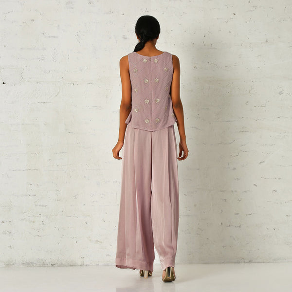 Old rose pink cropped tunic with pleated pants