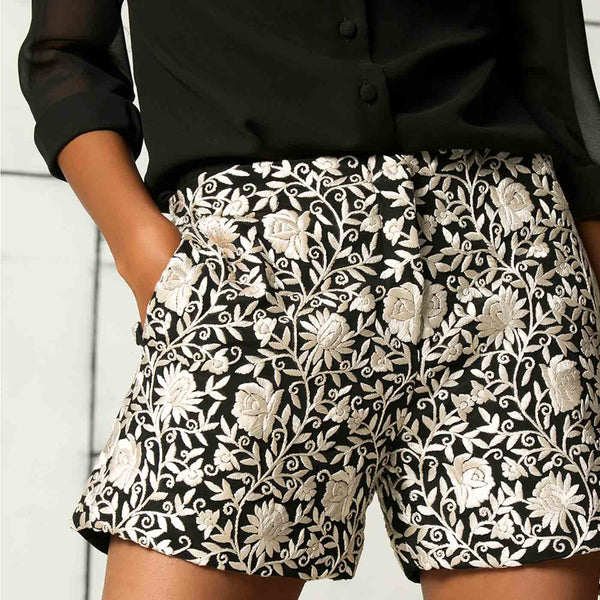 Black shirt with embroidered shorts