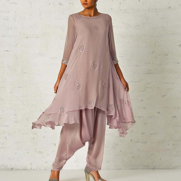Old rose pink asymmetrical tunic with a dhoti salwaar