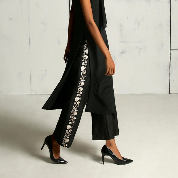Black tunic with embroidered silk culottes