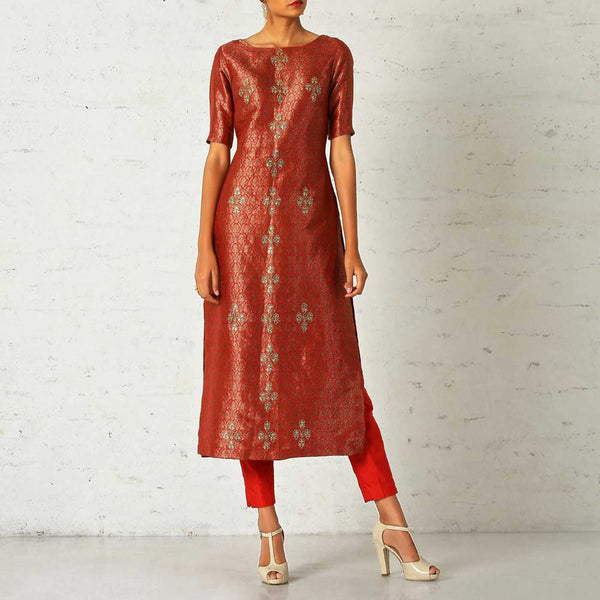 Brocade kurta with ankle length pants