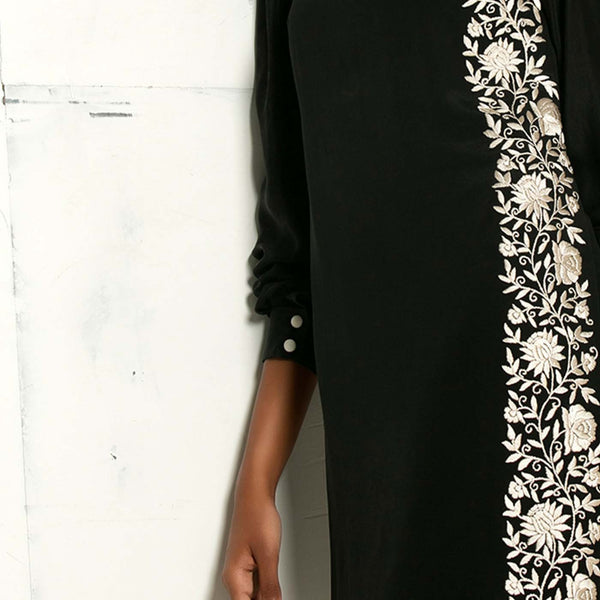 Black dress with gara embroidery