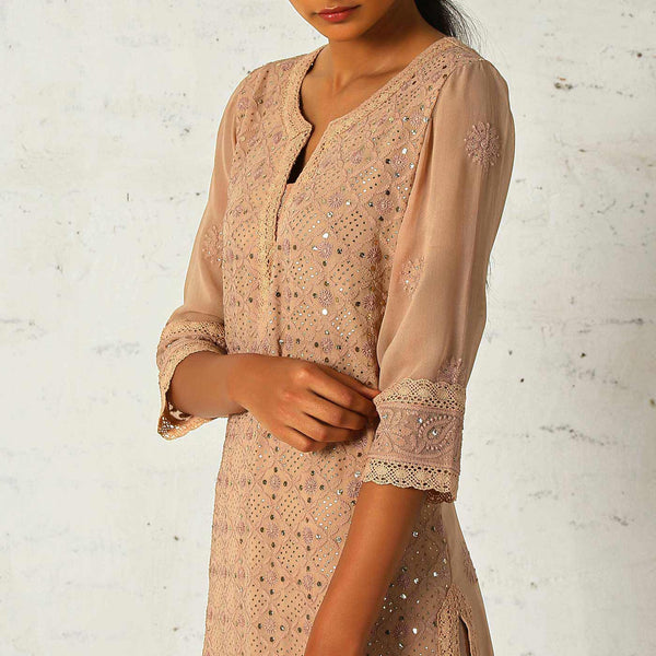 Blush Chikan tunic