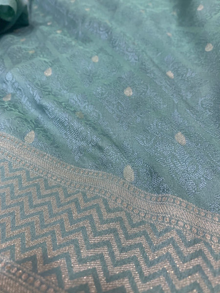 Blue Benarasi soft silk sari