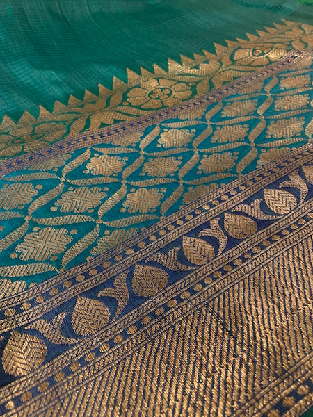 Green shaded Benarasi dupian silk sari