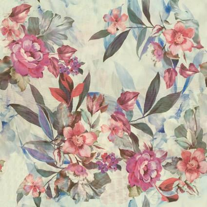 Floral pattern on off-white fabric