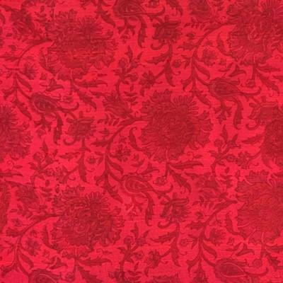 Red soft tussar digital printed fabric