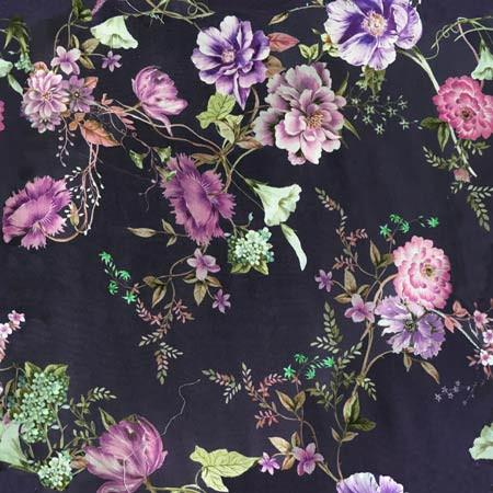 Floral pattern on purple fabric