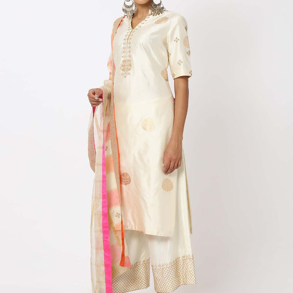Chanderi silk kurta and pant with beadwork