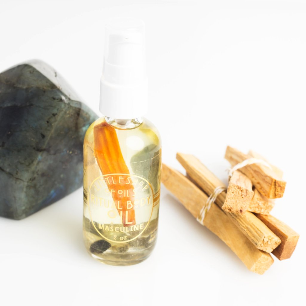 MASCULINE ENERGY RITUAL BODY OIL - Little Shop of Oils Essential Oils Crystal Gemstone Infused Apothecary