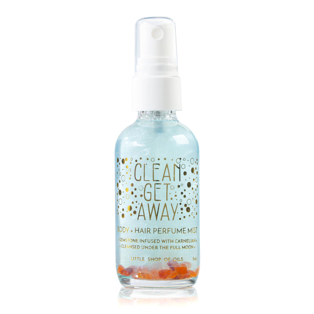 Clean Get Away Mist / Body + Hair Perfume - Little Shop of Oils Essential Oils Crystal Gemstone Infused Apothecary