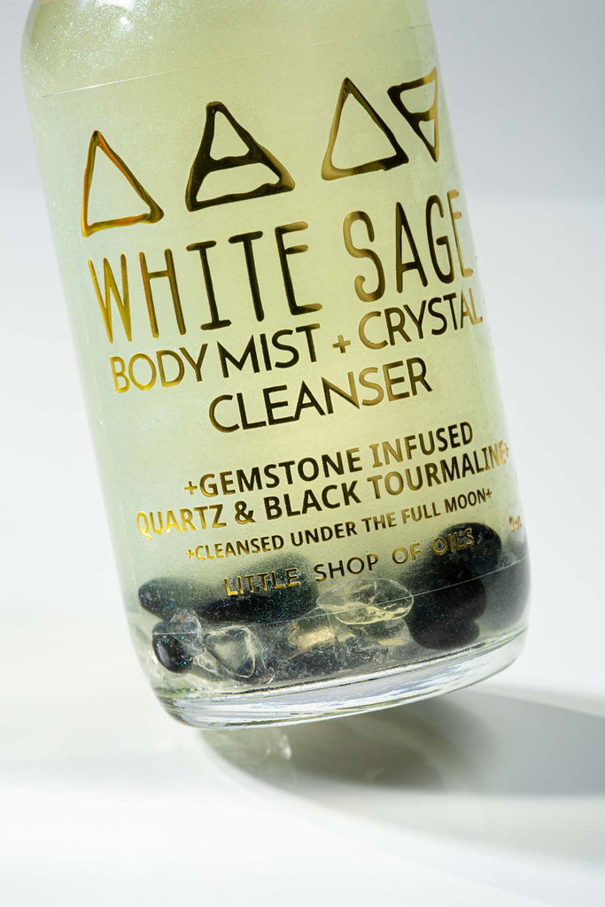 White Sage Mist / Body + Crystal Cleanser - Little Shop of Oils Essential Oils Crystal Gemstone Infused Apothecary