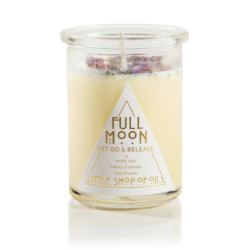 Full Moon Ritual Candle - Little Shop of Oils Essential Oils Crystal Gemstone Infused Apothecary