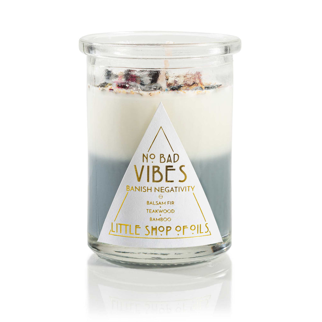 No Bad Vibes Ritual Candle - Little Shop of Oils Essential Oils Crystal Gemstone Infused Apothecary