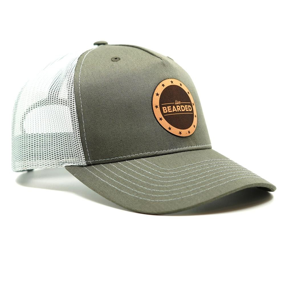 Leather Patch Trucker Hat - Beetle and Sea Foam Green